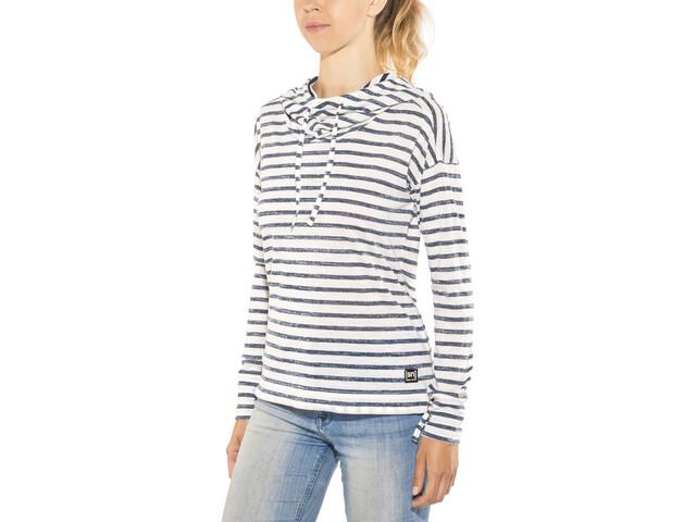 super.natural Funnel Hoodie Printed Damer, fresh white/fine stripe print
